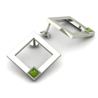 Square Peridot Element Earrings in Sterling Silver