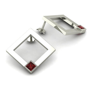 Square Garnet Element Earrings in Sterling Silver