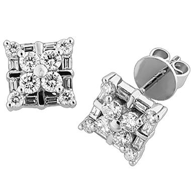 .95 ct. t.w. Round & Baguette Diamond Earrings