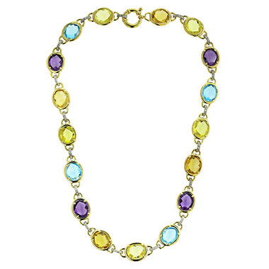 Treated Multi-Gem Cabachon Necklace in 14K Gold