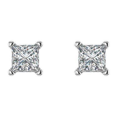 0.47 CT. T.W. Princess Diamond Studs in 14K White Gold (I, I1)
