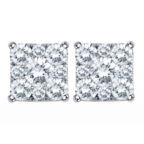 1.00 CT. T.W. Unity Diamond Earrings set in 14K White Gold (I, I1)