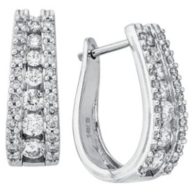 "1.50 CT. T.W. Double Row ""J"" Hoop Diamond Earrings in 14K White Gold"