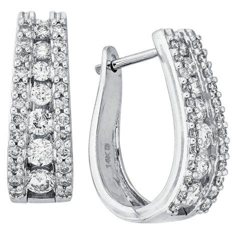 """1.50 CT. T.W. Double Row """"J"""" Hoop Diamond Earrings in 14K White Gold"""