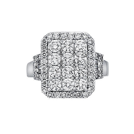 2.0 ct. t.w. Round & Baguette Cut Diamond Ring in 14K White Gold (I, I1)