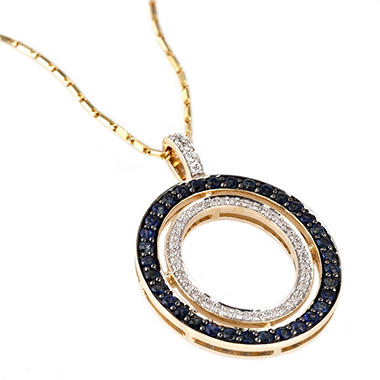 Diamond and Blue Sapphire Circle Pendant Necklace in 14K Yellow Gold