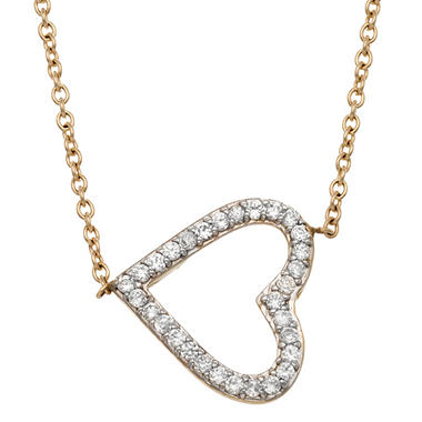 0.15 CT. T.W. Diamond Sideways Heart Necklace in 14K Yellow Gold  (IGI Appraisal Value: $350.00)