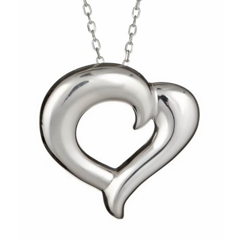 """""""Just the Two of Us"""" Sterling Silver Medium Heart Pendant"""