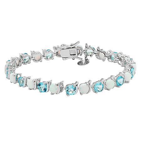 Lab Opal and Blue Topaz Bracelet in Sterling Silver