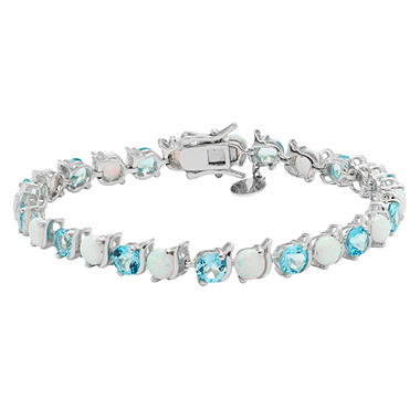 Lab Opal and Blue Topaz Bracelet in Sterling Silver
