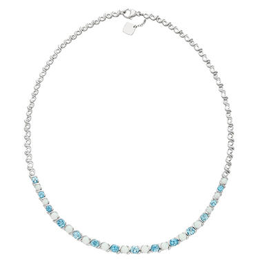 Lab Opal and Blue Topaz Sterling Silver Necklace