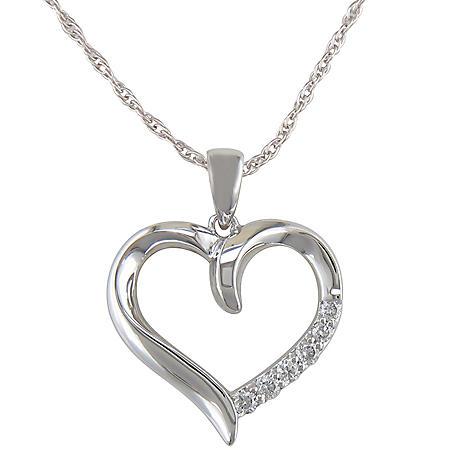 0.12 ct. t.w. Diamond Heart Pendant in 14k White Gold (H-I, I1)