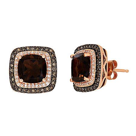 Smokey Quartz and Diamond Earrings in 14K Rose Gold