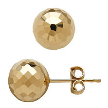 14K Yellow Gold Round Faceted Ball Studs