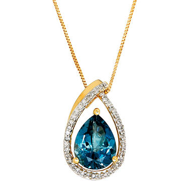 Pear-Shaped London Blue Topaz and Diamond Pendant in 14K Yellow Gold