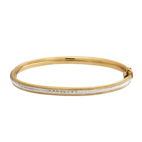 14K Gold Two-Tone Diamond-Cut Bangle