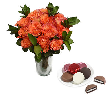 Free Spirit Rose Bouquet and Belgian Chocolate Dipped Oreos