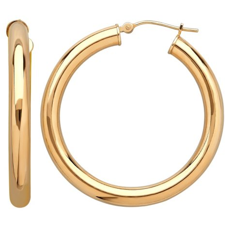 Royale Gold 14K Yellow Gold 35MM Round Hoops