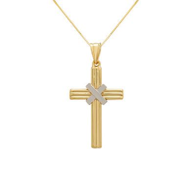 14k Yellow and White Gold Cross Pendant