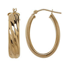 Royale Gold 14K Yellow Gold 25MM Twisted Oval Hoops