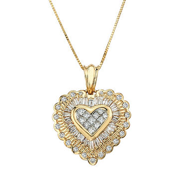 98 ct tw diamond heart pendant in 14k yellow gold sams club tw diamond heart pendant in 14k yellow gold mozeypictures Image collections