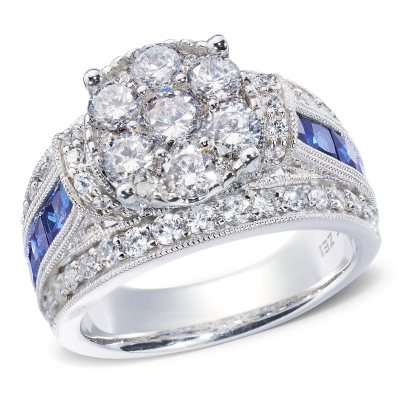 195 CT TW Diamond and Sapphire Engagement Ring in 14K White or