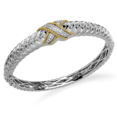 "0.20 ct. t.w. Diamond ""X"" Bracelet in Sterling Silver and 14K Yellow Gold (H-I, I1)"