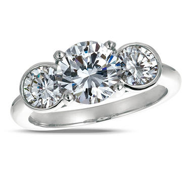 1.00 ct. t.w. Round-Cut Diamond 3-Stone Ring 18K White Gold (I, SI2)