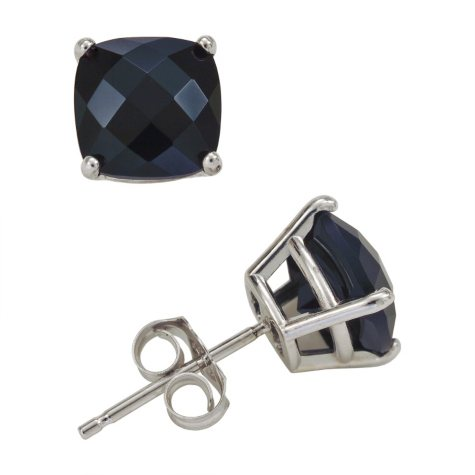 8mm Cushion Cut Onyx Stud Earrings in 14K White Gold