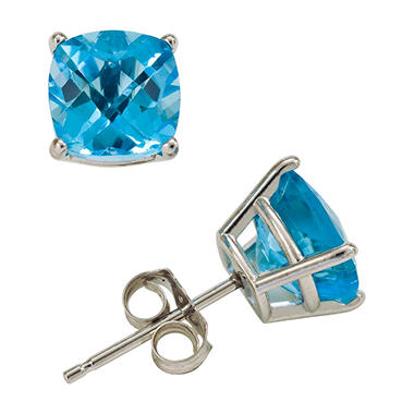 T W Cushion Cut Swiss Blue Topaz Stud Earrings In 14k White Gold