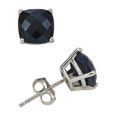 6mm Cushion Cut Onyx Stud Earrings in 14K White Gold