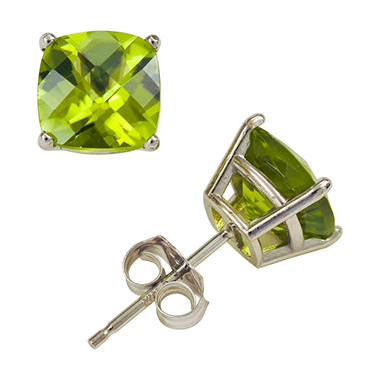 T W Cushion Cut Peridot Stud Earrings In 14k White Gold