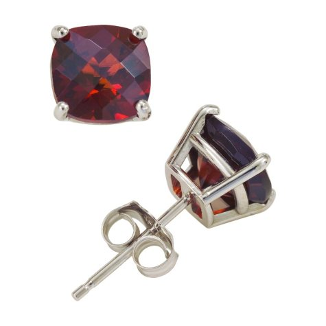 2.0 ct. t.w. Cushion Cut Garnet Stud Earrings in 14K White Gold