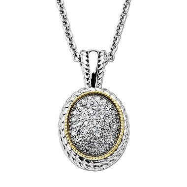 0.23 CT.T.W. Diamond Oval Pendant in Sterling Silver and 14K Yellow Gold (H-I, I1)