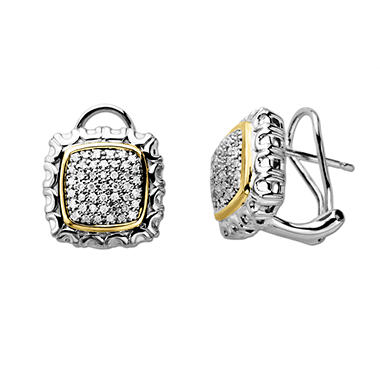 0.25 CT.T.W. Diamond Square Earrings in Sterling Silver and 14K Yellow Gold (H-I, I1)