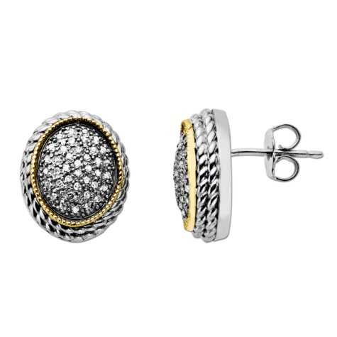 0.23 CT.T.W. Diamond Oval Earrings in Sterling Silver and 14K Yellow Gold (H-I, I1)