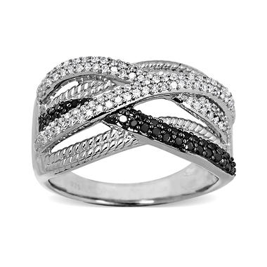 0.40 CT.T.W. Black and White Diamond Ring in Sterling Silver (Black & H-I, I1)