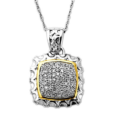 0.25 CT.T.W. Diamond Square Pendant in Sterling Silver and 14K Yellow Gold (H-I, I1)