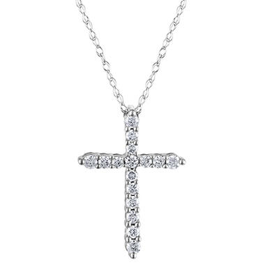 020 ct tw diamond cross pendant in 14k white gold h i i1 tw diamond cross pendant in 14k white gold h i i1 aloadofball Image collections