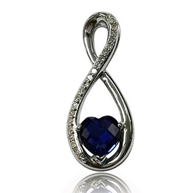 Lab Created Sapphire Eternity Pendant with .08 ct. t.w. Diamond Accents