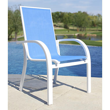 Aluminum Sling Stacking Chair   Blue