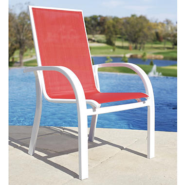Stackable Aluminum Patio Chairs aluminum sling stacking chair - red - sam's club