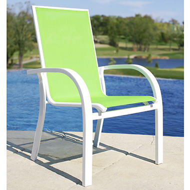 Aluminum Sling Stacking Chair - Green - Sam's Club