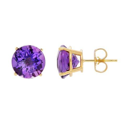 9mm Gemstone Stud Earrings in 14K Yellow Gold (Assorted Gemstones)
