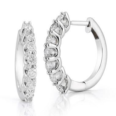 50 Ct T W Diamond Hoop Earrings In 14k White Gold I I1 Sam S Club