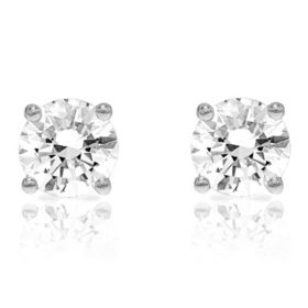Round Cut 0 72 Ct T W Diamond Studs In 14k White Gold