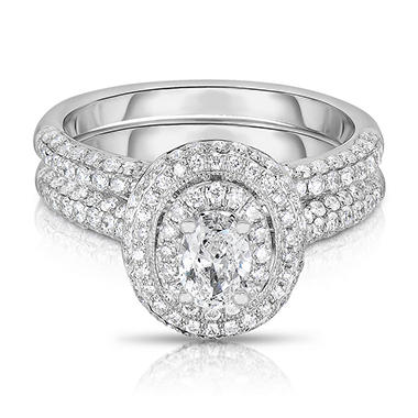 1.45 CT. T.W. Oval & Round Diamond Ring in 14K White Gold (I-SI2)