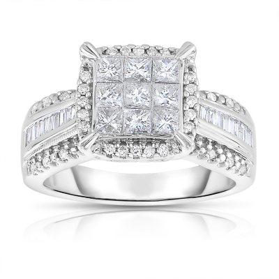 095 CT TW Diamond Engagement Ring in 14K White Gold II1