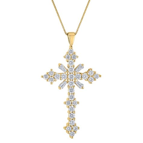 0.46 CT. T.W. Diamond Cross Pendant in 14K Yellow Gold (H-I, I1)