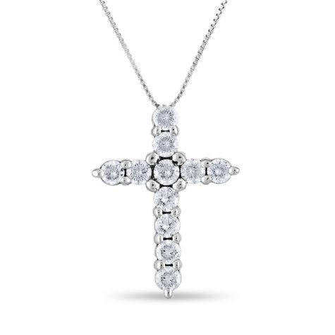 0.96 CT. T.W. Diamond Cross Pendant in 14K White Gold (H-I, I1)